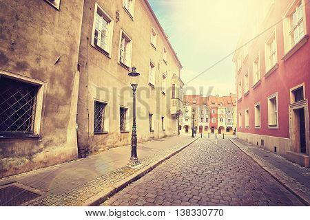 Vintage Stylized Street In Poznan Old Town.