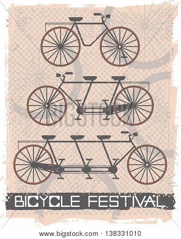 Vintage bicycle on retro background. Stylish poster for your designs.