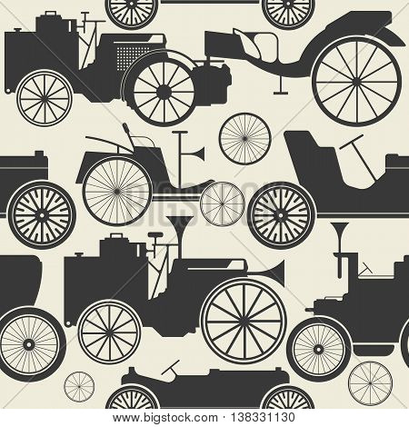 Endless pattern with vintage cars. Perfect template for creative designs.