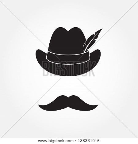 German hunting hat with feather and moustache. Octoberfest symbol isolated on white background. Vector illustration.