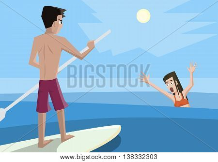 Lifeguard rescues drowning woman - colorful vector cartoon illustration