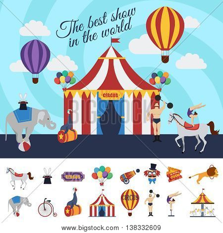 Circus performance concept with best show in world design and decorative elements collection isolated vector illustration