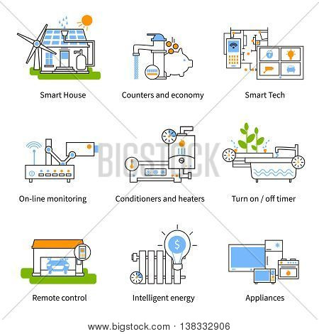 Smart house concept icon set with counters economy timer on line monitoring conditioners appliances descriptions vector illustration