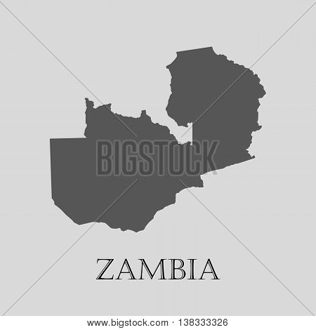Gray Zambia map on light grey background. Gray Zambia map - vector illustration.