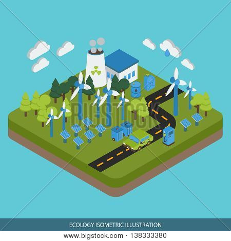 Ecology isometric design with industrial area car on road green energy biofuel on blue background vector illustration