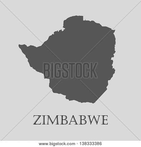 Gray Zimbabwe map on light grey background. Gray Zimbabwe map - vector illustration.