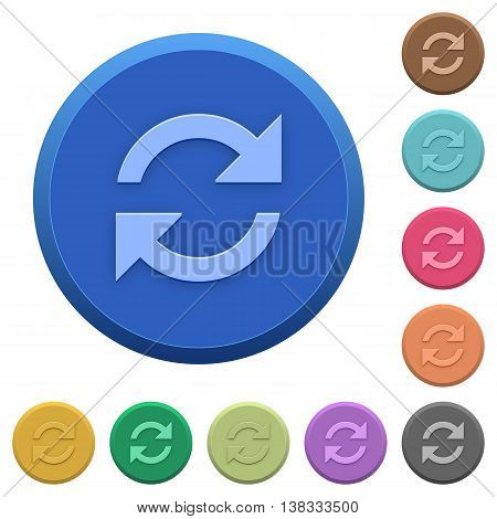 Set of round color embossed refresh buttons