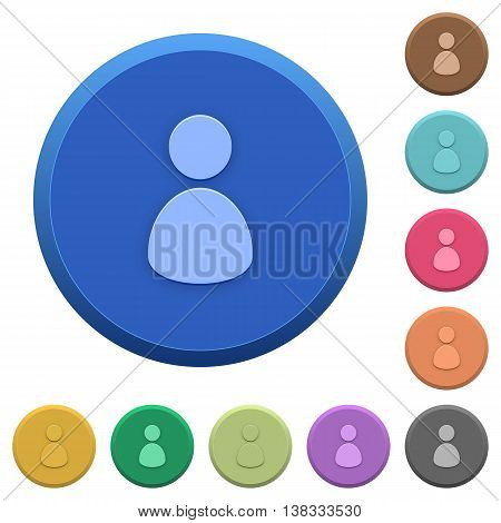 Set of round color embossed user buttons