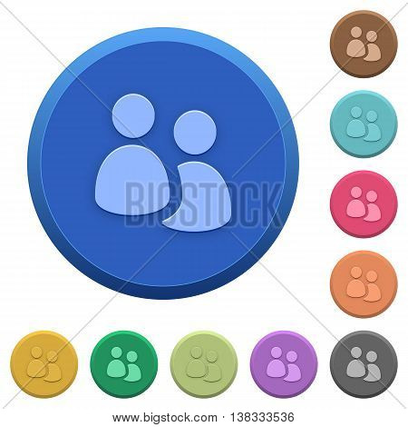 Set of round color embossed user group buttons