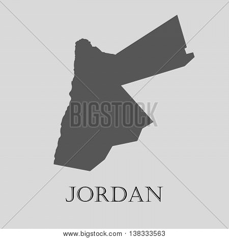 Gray Jordan map on light grey background. Gray Jordan map - vector illustration.