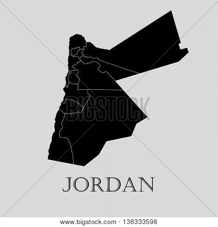 Black Jordan map on light grey background. Black Jordan map - vector illustration.