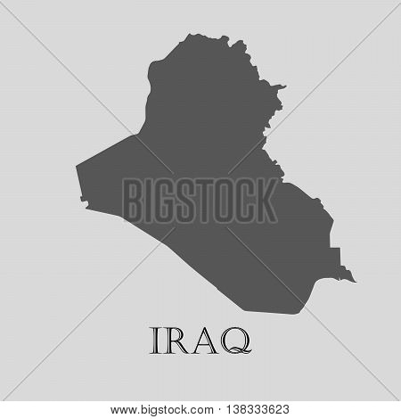 Gray Iraq map on light grey background. Gray Iraq map - vector illustration.