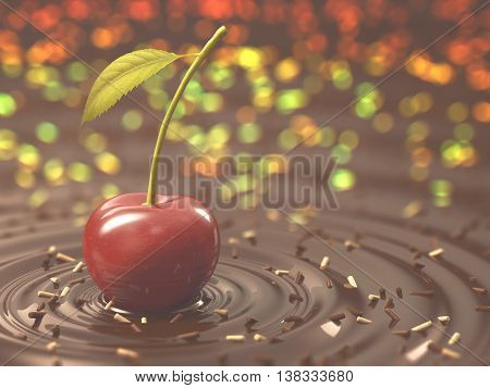 3D illustration. Cherry on top of a chocolate sauce. Clipping path on the cherry.