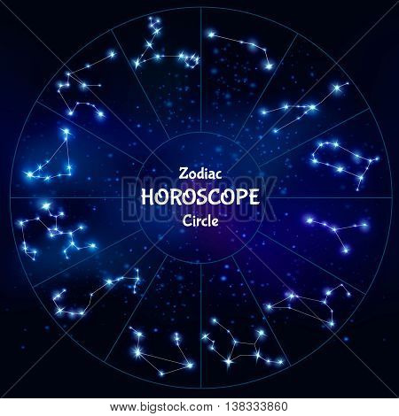 Realistic zodiac horoscope in circle shape with collection of astrological constellations on night sky background vector illustration