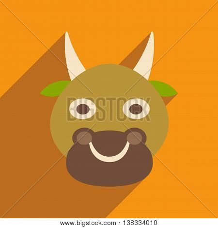 Modern flat icon with long shadow Indian cow