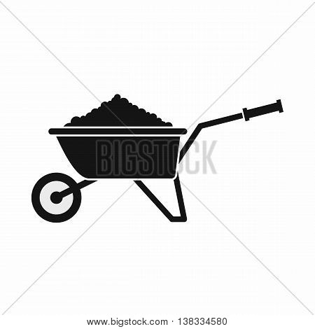 Wheelbarrow loaded with soil icon in simple style isolated vector illustration