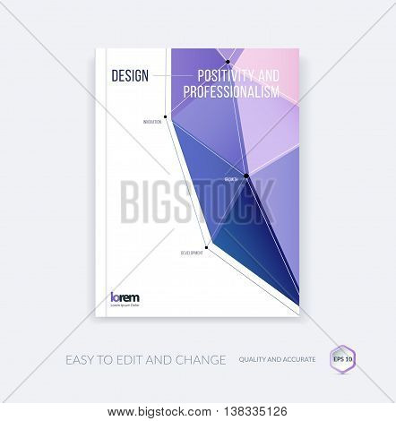 Vector design for cover annual report. Brochure or flyer template in A4 with purple triangular geometric shape in polygonal style with technology connection concept. Abstract business modern poster.
