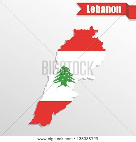 Lebanon map with flag inside and ribbon