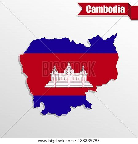 Cambodia map with flag inside and ribbon