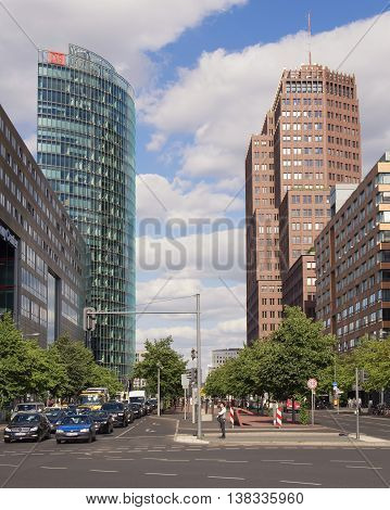 BERLIN GERMANY - JULY 7 2016: the towers at Potsdamer Platz in Berlin Germany