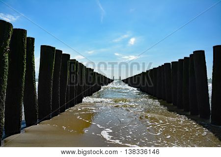 Vlissingen the Netherlands Paalhoofden Groynes Water Blue Sky Water Sea Waves