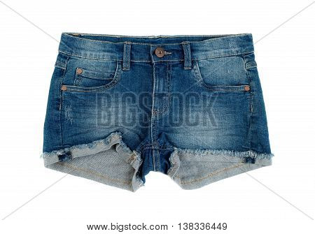 Short denim shorts. Isolate on white. comfortable
