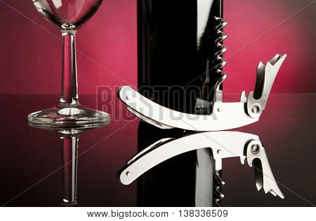Bottle and wine glass in white back ground