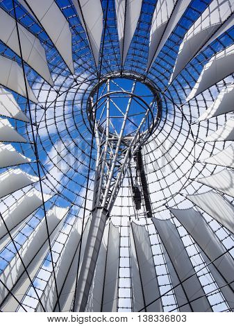 BERLIN GERMANY - JULY 7 2016: famous dome of Potsdamer Platz color gradient