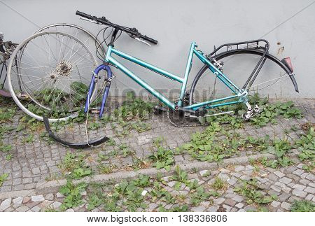 BERLIN GERMANY - JULY 6 2016: Stolen: Bicycle without tires and saddle