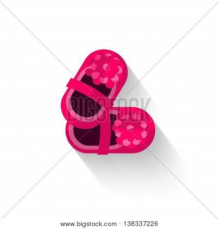 Baby shoes logo symbol isolated white background, girl boots pair