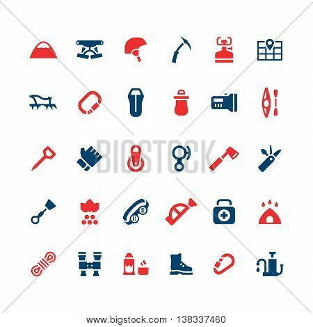 Set color icons of camping and mountaineering isolated on white. Vector illustration