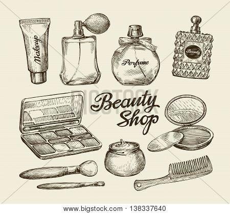Hand-drawn vintage womens cosmetics. Sketch perfume, powder, comb, face cream, makeup brush, body cream, lotion Vector illustration