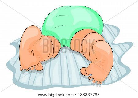 illustration buttocks of a baby wearing diapers