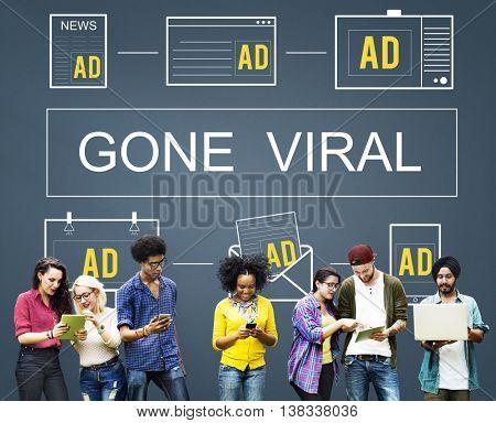 Gone Viral Advertisement Commercial Digital Marketing Concept