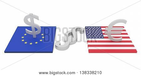 transatlantic investment EU and USA legal problems 3d illustration
