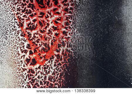 Cracked Red Paint On Grunge Metal Surface - Macro 12