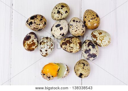 Quail Eggs on Light Wood Background Studio Photo