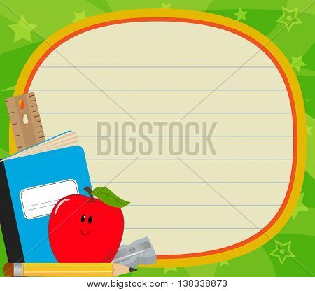 Cute blank sign with school items and green background. Eps10