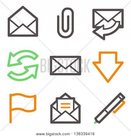 E-mail and documents web icons set. Office and CRM mobile symbols.