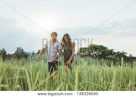 Happy Young Couple In Nature