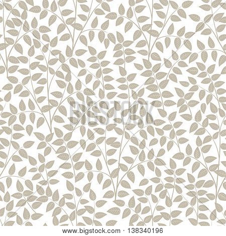 Seamless patterns from leaves and twigs. Vector illustration