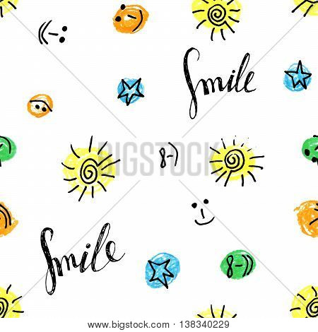 Cute seamless pattern of the colorful sun, smiley, star and Smile inscription on white background. Design for background, textile, paper packaging, wrapping paper, greeting card. Vector illustration.