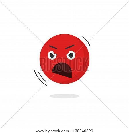 Angry emoticon face vector icon isolated on white background, cartoon shouting emoji character negative emotion