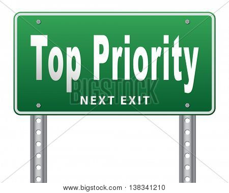 Top priority important very high urgency info lost importance crucial information, road sign billboard, 3D illustration, isolated, on white