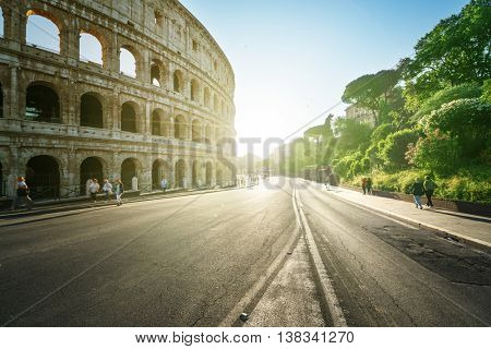 road to Colosseum in sunset time, Rome, Italy