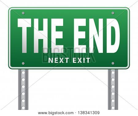 the end road sign to finish point way out, 3D illustration, isolated, on white