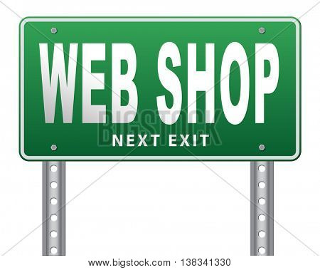 web shop or online shopping sign for internet webshop or store, 3D illustration, isolated, on white