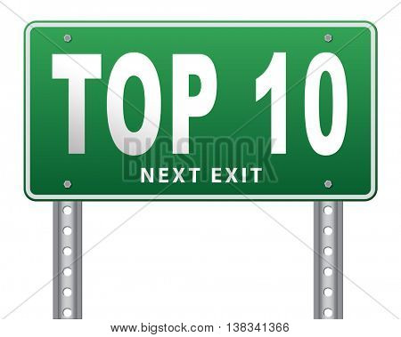 top 10 charts list pop poll result and award winners chart ranking music hits best top ten quality rating prize winner road sign billboard, 3D illustration, isolated, on white