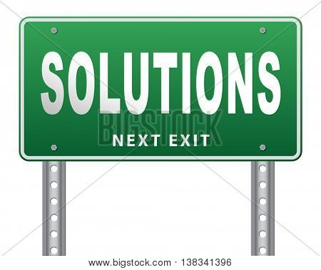 solutions solve problems and search and find a solution road sign billboard 3D illustration, isolated, on white