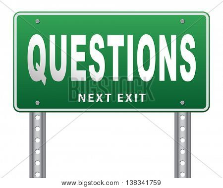 questions and solutions need serious answers helps or support desk information answer question with text and word concept 3D illustration, isolated, on white